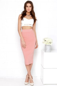 Do You Boo Blush Pink Bodycon Midi Skirt at Lulus.com!
