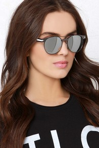 Bosa White and Gunmetal Mirrored Sunglasses at Lulus.com!