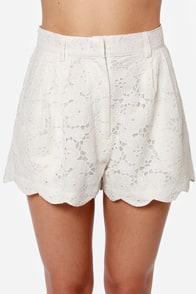 Mink Pink Sister SVR Ivory Lace Shorts at Lulus.com!
