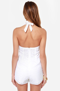 Mink Pink House Prairie White Lace Romper at Lulus.com!