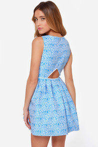 Mink Pink Pleasantville Blue Jacquard Dress at Lulus.com!