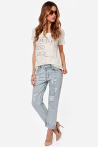 Mink Pink Instinct Blues Distressed Boyfriend Jeans at Lulus.com!