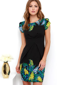 Darling Isla Black Floral Print Dress at Lulus.com!