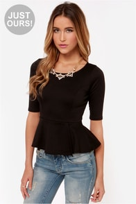 LULUS Exclusive Perk Up Black Peplum Top