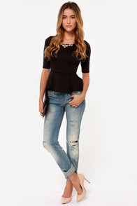 LULUS Exclusive Perk Up Black Peplum Top at Lulus.com!