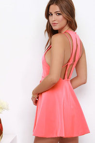 Thrill Chic-er Coral Pink Dress at Lulus.com!