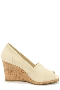 Bamboo Leah 01 Beige Peep Toe Wedges at Lulus.com!