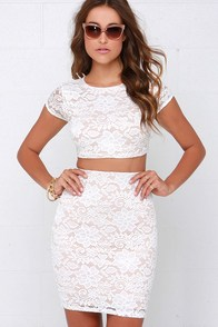 A Lace to a Name Beige and Ivory Lace Two-Piece Dress at Lulus.com!