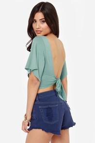 Confidential Cutie Backless Seafoam Green Crop Top