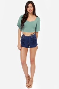 Confidential Cutie Backless Seafoam Green Crop Top at Lulus.com!