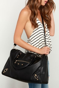 Girls' Weekend Black Weekender Bag at Lulus.com!