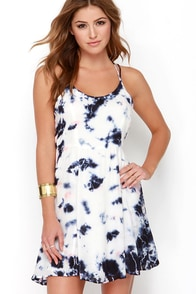 Olive & Oak Sunny Expedition Peach and Navy Blue Tie-Dye Dress at Lulus.com!