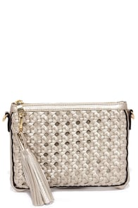 Woven Wonder Gold Clutch at Lulus.com!