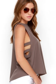 Midnight Meandering Taupe Sleeveless Top at Lulus.com!