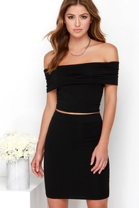 Off to the Races Black Off-the-Shoulder Two-Piece Dress at Lulus.com!