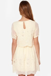Floating on Heirloom Embroidered Cream Dress at Lulus.com!