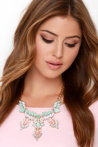 Daquiri Days Mint Rhinestone Necklace at Lulus.com!