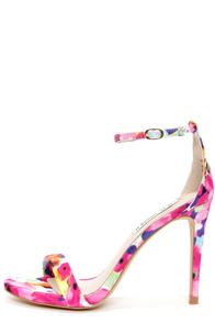 Steve Madden Stecy Floral Print Ankle Strap Heels at Lulus.com!