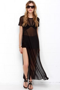 Screen Queen Black Mesh Maxi Top at Lulus.com!