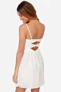 Nice Lace Ivory Lace Dress at Lulus.com!