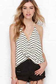 Dapperly Draped Black and Cream Striped Halter Top at Lulus.com!
