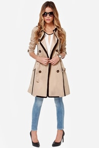 Whatever Floats Your Coat Black and Beige Trench Coat at Lulus.com!
