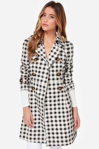 Star Check Ivory and Black Checkered Coat