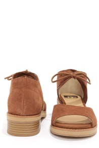 BC Footwear Hard To Tell Cognac Suede Sandals at Lulus.com!