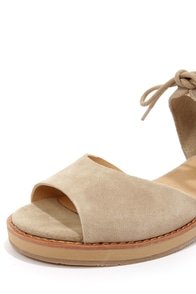 BC Footwear Hard To Tell Sand Suede Sandals at Lulus.com!