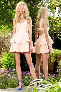 Ruffles and Truffles Peach Skater Dress at Lulus.com!