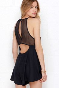 The Fifth Label Don't Panic Navy Blue Mesh Romper at Lulus.com!