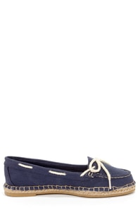 Bamboo Saturday 01 Navy Canvas Deck Shoe Flats at Lulus.com!
