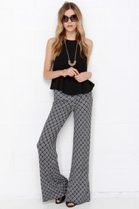 Flare of Mystery Black and White Print Pants at Lulus.com!