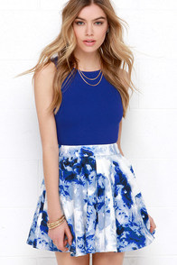 Wyldr Holly Blue and Ivory Floral Print Skirt at Lulus.com!