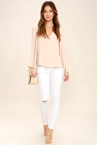 Lean With It White Distressed Skinny Ankle Jeans at Lulus.com!