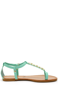 Bamboo Morris 75 Mint Chain T-Strap Sandals at Lulus.com!