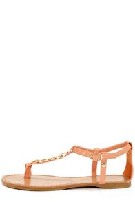 Bamboo Morris 75 Peach Chain T-Strap Sandals at Lulus.com!