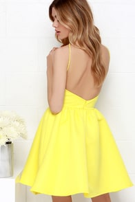 Chic and Repeat Bright Yellow Backless Dress at Lulus.com!