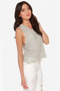 Mink Pink For Now Cropped Grey Tee at Lulus.com!