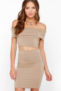 Off to the Races Dark Beige Off-the-Shoulder Two-Piece Dress at Lulus.com!
