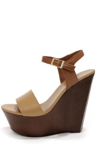 Bamboo Daff 05 Natural Color Block Platform Wedge Sandals