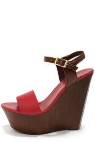 Bamboo Daff 05 Red Color Block Platform Wedge Sandals