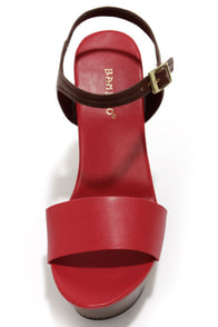 Bamboo Daff 05 Red Color Block Platform Wedge Sandals at Lulus.com!