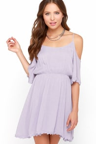Fresh as a Daisy Lavender Off-the-Shoulder Dress at Lulus.com!