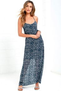 Sky Train Navy Blue Print Maxi Dress at Lulus.com!