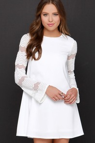 New Clue Ivory Long Sleeve Embroidered Dress at Lulus.com!
