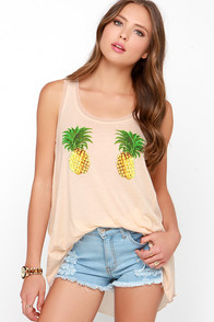 Others Follow Got Pineapples? Peach Tank Top at Lulus.com!