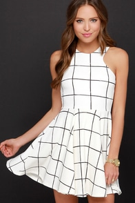 Reality-Check-Black-and-Cream-Grid-Print-Dress