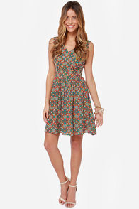 Darling Rebecca Teal Floral Print Dress at Lulus.com!