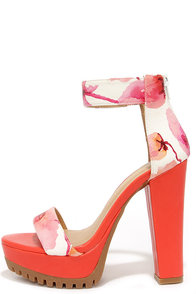 Garden Walls Red Floral Platform Sandals at Lulus.com!